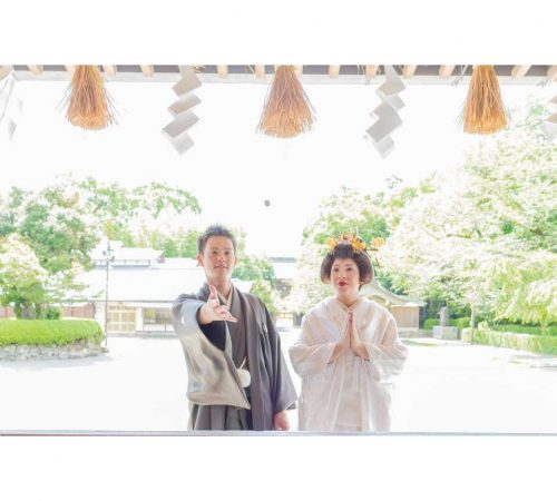 ロケ撮影 健軍神社 前撮り ウェディング 白無垢